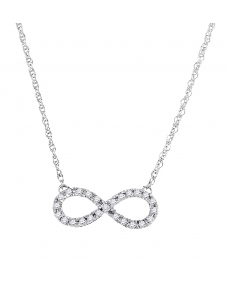 Diamond Infinity Necklace in White Gold (.20ct)
