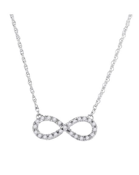 Diamond Infinity Necklace in 10k White Gold (.20ct)