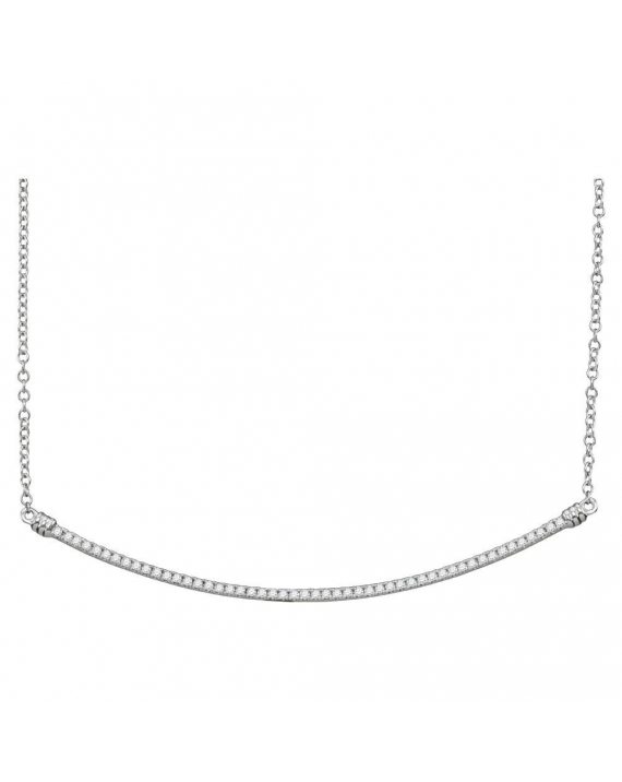 Diamond Curved Slender Bar Necklace in White Gold (.25ct)