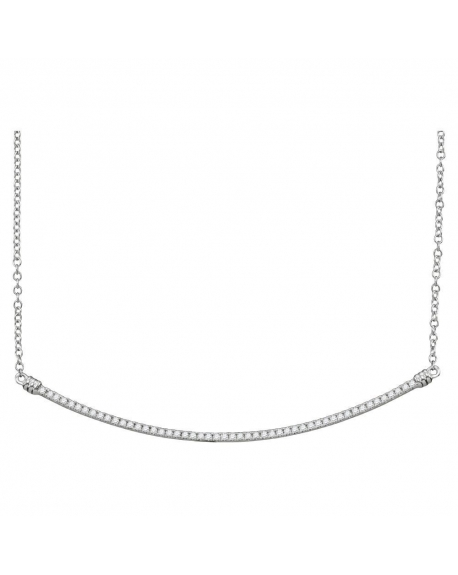 Diamond Curved Slender Bar Necklace in 10k White Gold (.25ct)