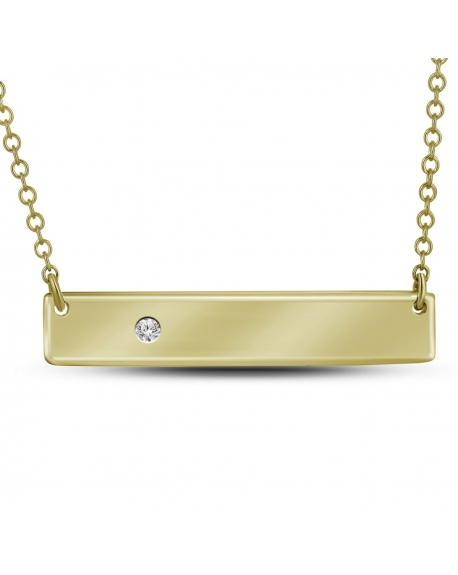 Diamond Rectangle Bar Necklace in 10k Yellow Gold (.02ct)