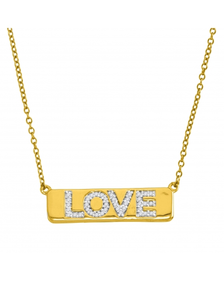 Diamond Love Bar Necklace in 10k Yellow Gold (.13ct)