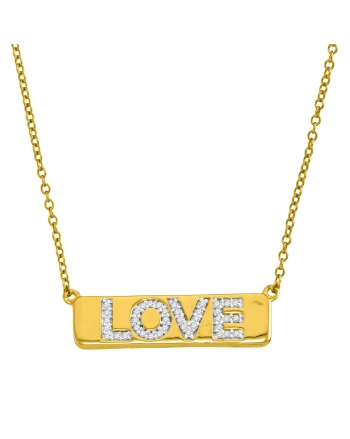 Diamond Love Bar Necklace in Yellow Gold (.13ct)