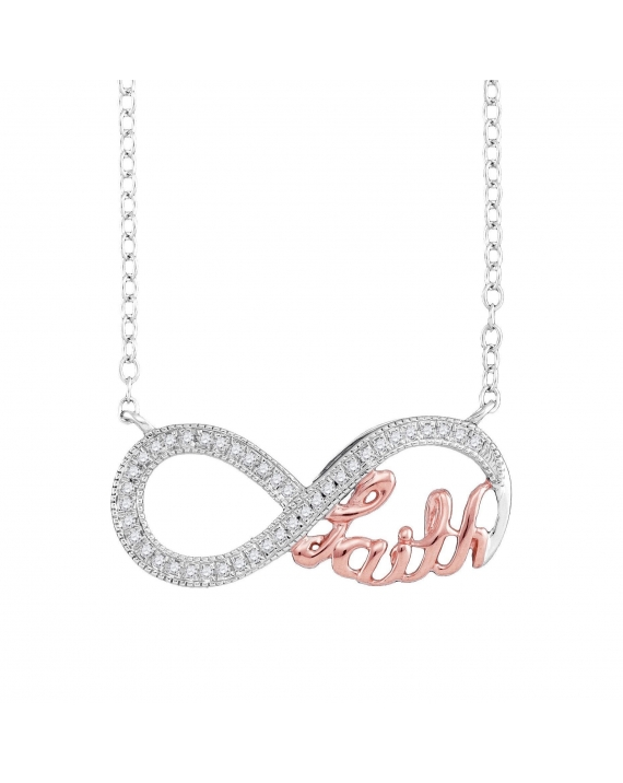 Diamond Pink Infinity Necklace in White Gold (.10ct)