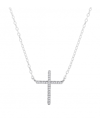 Diamond Cross Necklace in White Gold (.08ct)