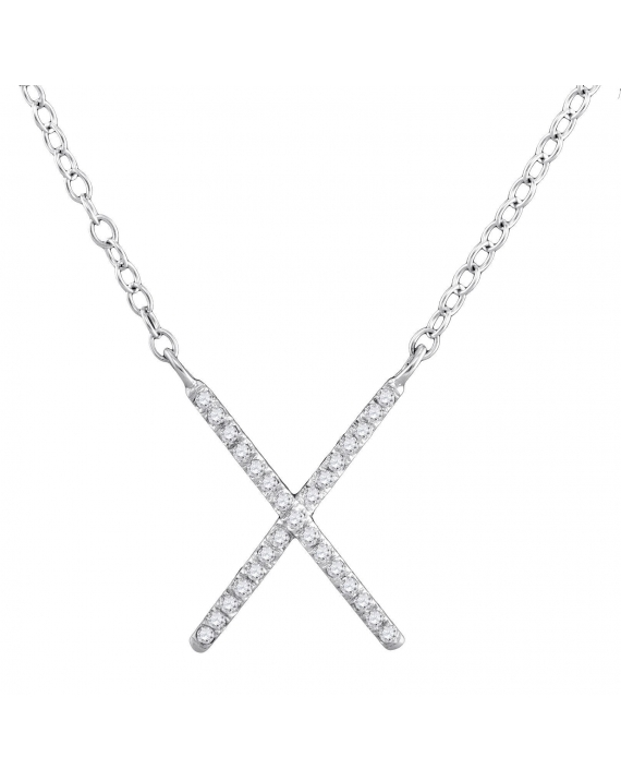 Diamond Letter X Cross Necklace in White Gold (.10ct)