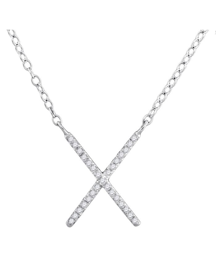 Diamond letter x cross necklace in white gold 10ct cosanuova diamond letter x cross necklace in 10k white gold 10ct aloadofball Choice Image