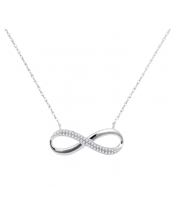 Diamond Infinity Necklace in White Gold (.13ct)