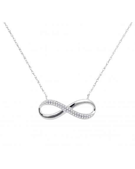Diamond Infinity Necklace in 10k White Gold (.13ct)