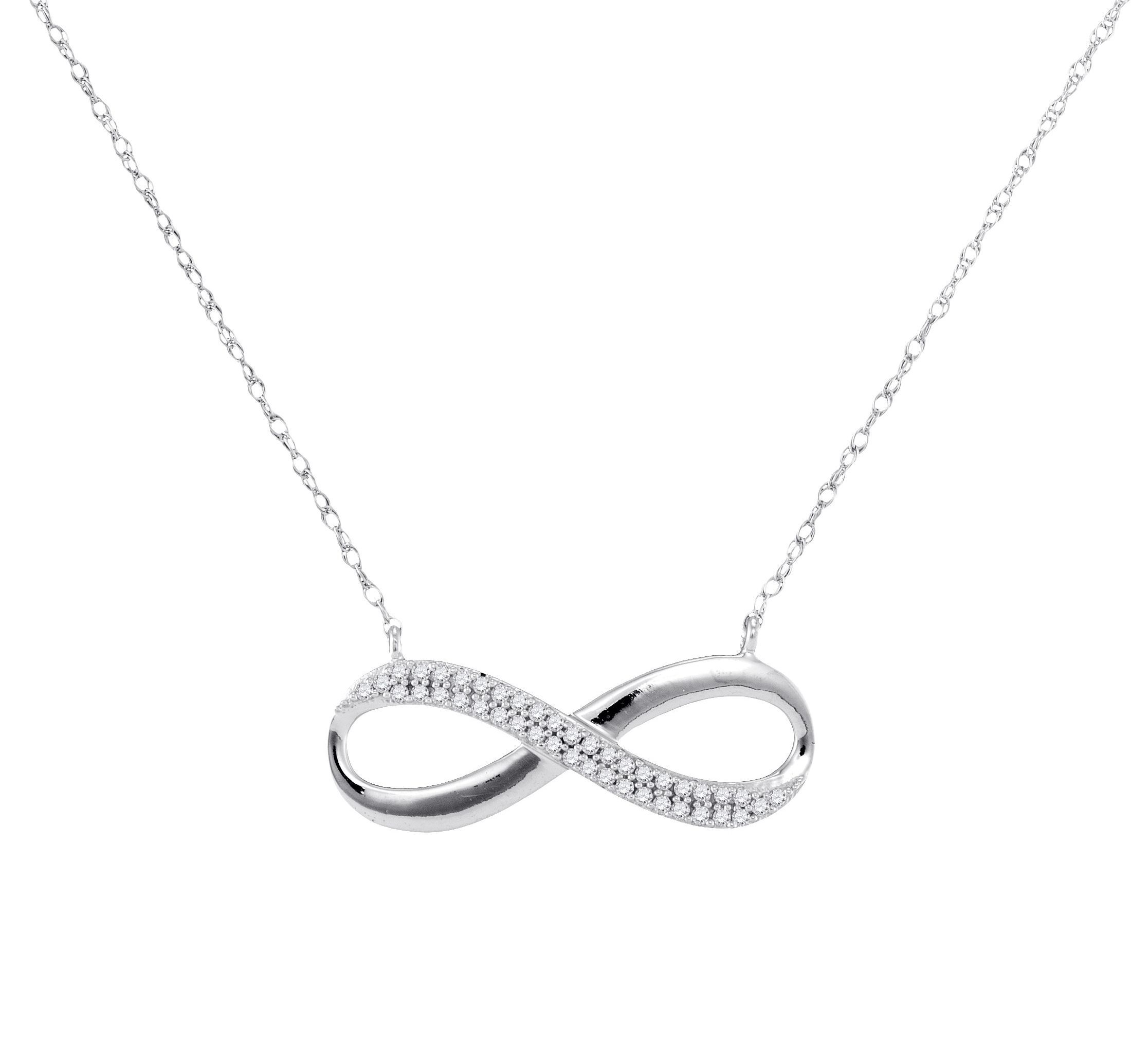 in infinity pendant white gold necklace