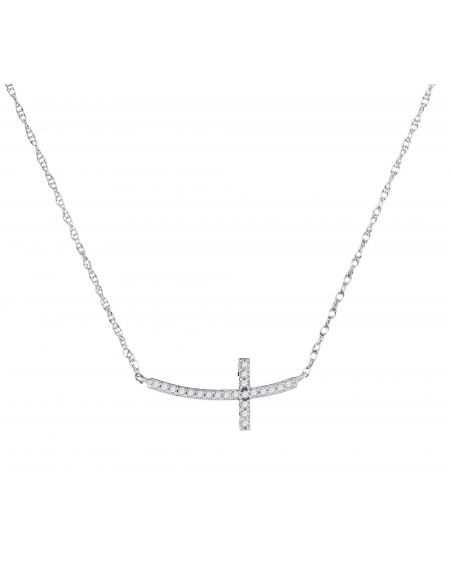 Diamond Horizontal Cross Necklace in 10k White Gold (.05ct)