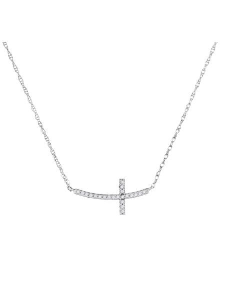 Diamond Horizontal Cross Necklace in White Gold (.05ct)
