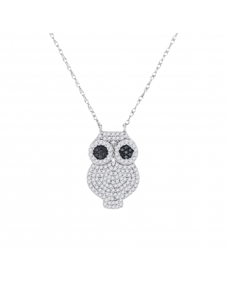 Black Diamond Owl Bird Necklace in 10k White Gold (.38ct)
