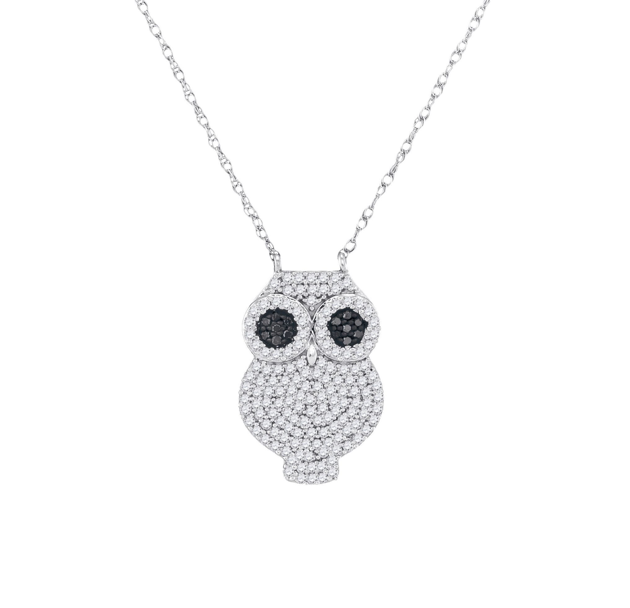 bird pendant necklace gold owl black cosanuova jewelry diamond white in necklaces
