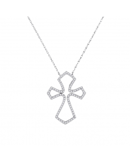 Diamond Flared Cross Necklace in White Gold (.25ct)