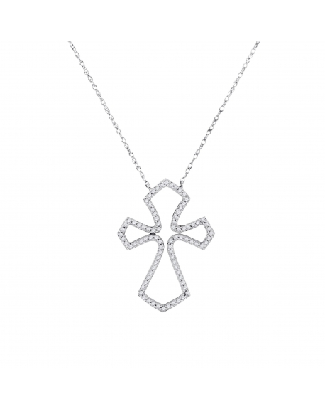 Diamond Flared Cross Necklace in 10k White Gold (.25ct)