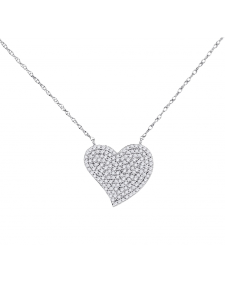 Diamond Heart Cluster Necklace in 10k White Gold (.33ct)