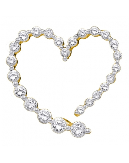 Diamond Heart Journey Pendant in 14k Yellow Gold (.50ct)