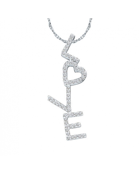 Diamond Love Heart Pendant in 14k White Gold (.20ct)