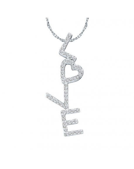 Diamond love heart pendant in 14k white gold 20ct cosanuova diamond love heart pendant in 14k white gold 20ct aloadofball Image collections