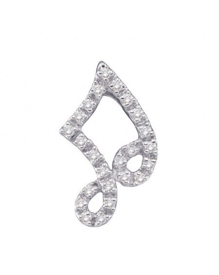 Diamond Music Note Pendant in 14k White Gold  (.10ct)