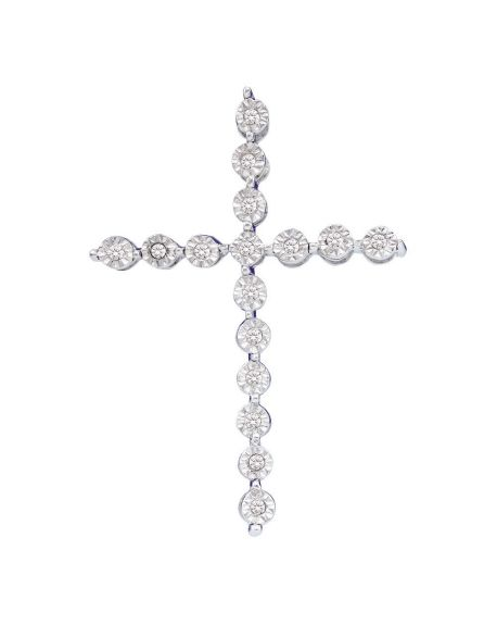 Sterling Silver Diamond Roman Cross Pendant (.13ct)