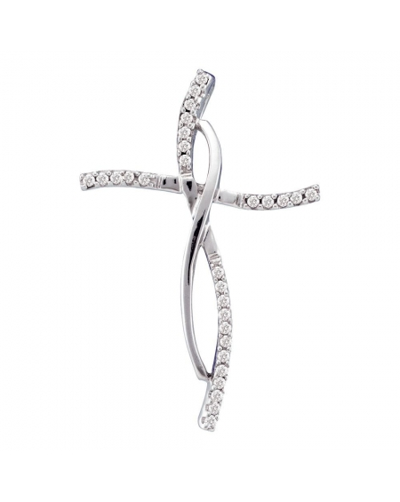 Woven Infinity Cross Pendant in 14k White Gold (.10ct)