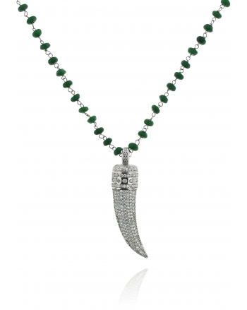 Sterling Silver Jade Horn Long Necklace