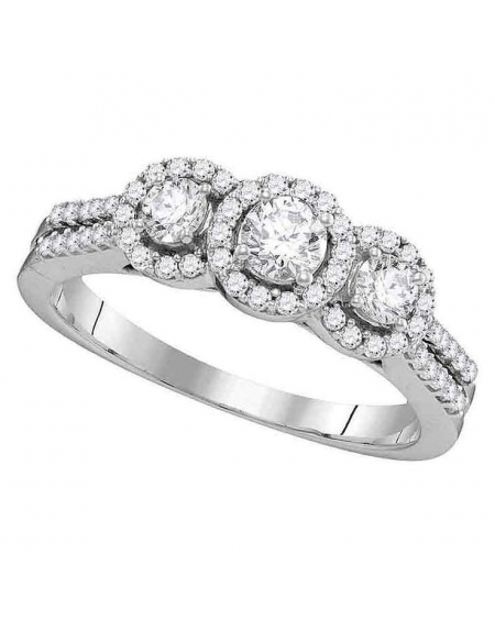 3-stone Halo Style Engagement Ring in 14k White Gold (.75ct)