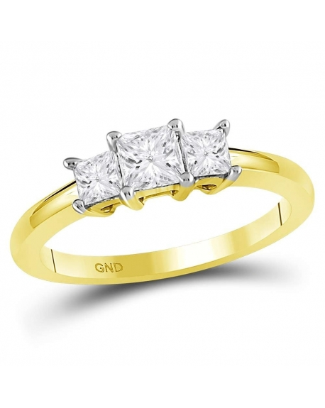 3-stone Princess Engagement Ring in 14kt Yellow Gold (.75ct)