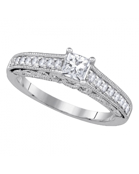Princess Solitaire Engagement Ring in 14kt White Gold (.62ct)