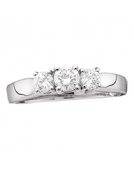 3-stone Diamond Engagement Ring in 14kt White Gold (.75ct)