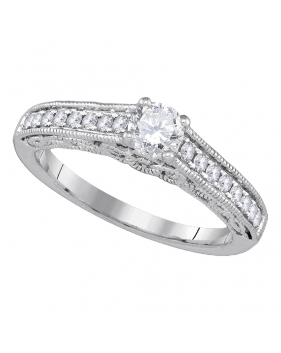 Solitaire Diamond Engagement Ring in 14kt White Gold (.62ct)
