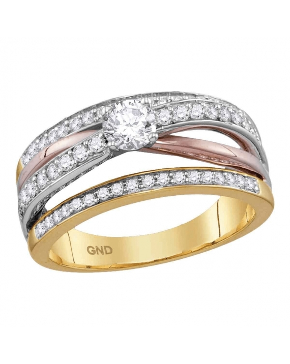 Solitaire Diamond Engagement Ring in 14kt 2-Tone Gold (.75ct)