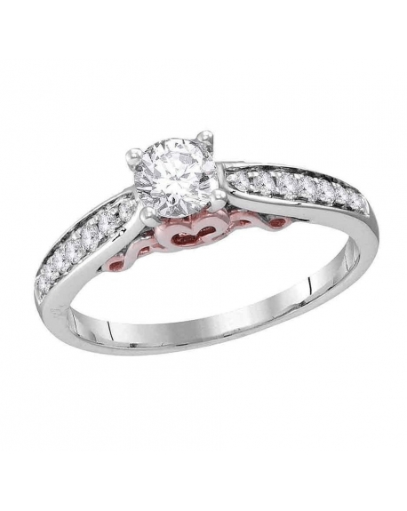 Diamond Solitaire Engagement Ring in 14kt White Gold(.62ct)