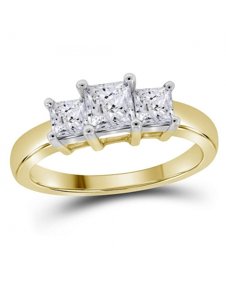 3-stone Princess Engagement Ring in 14kt Yellow Gold (1.00ct)