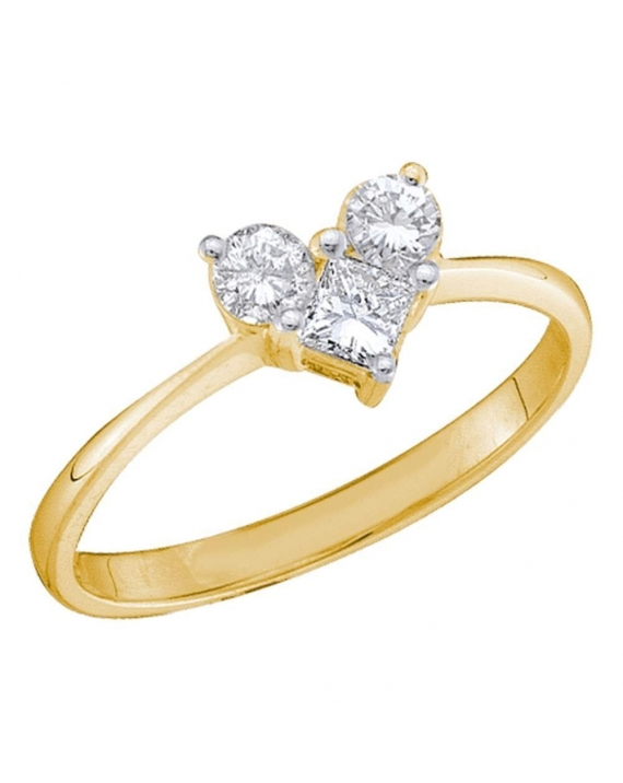Princess Diamond Heart Engagement Ring in 14kt Yellow Gold (.50ct)