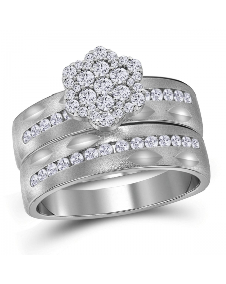 His & Hers Wedding Ring Band Set in 14kt White Gold (.75ct)