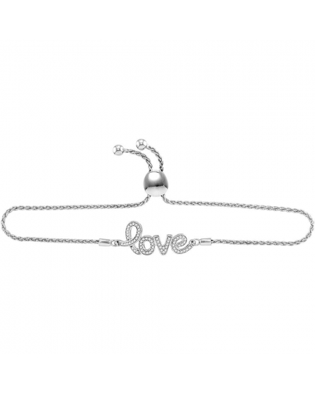 Sterling Silver Diamond Love Bracelet (.25ct)