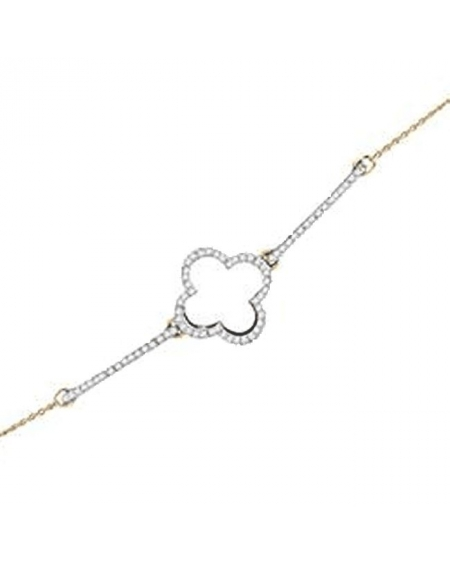 Diamond Clover Bracelet in 10kt Yellow Gold (.20ct)