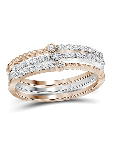Two-tone Diamond Stackable Bands in 10kt Gold (.25ct)