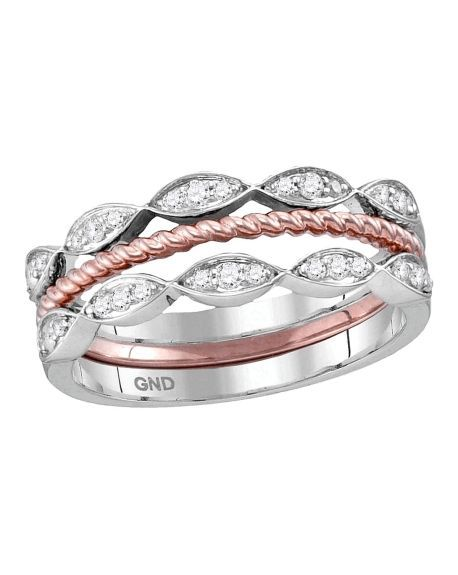 Stackable Rope Band Set in 10kt Gold (.20ct)