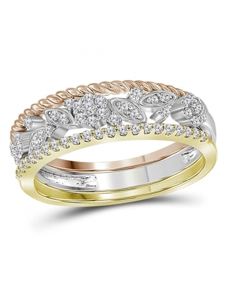 Tri-tone Floral Stackable Band Set in 10kt Gold (.25ct)