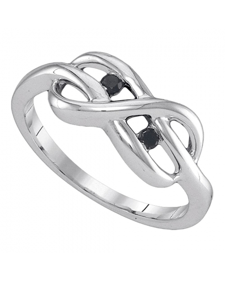 Sterling Silver Black Diamond Infinity Ring (.05ct)