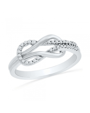 Diamond Lasso Infinity Ring in White Gold (.17ct)