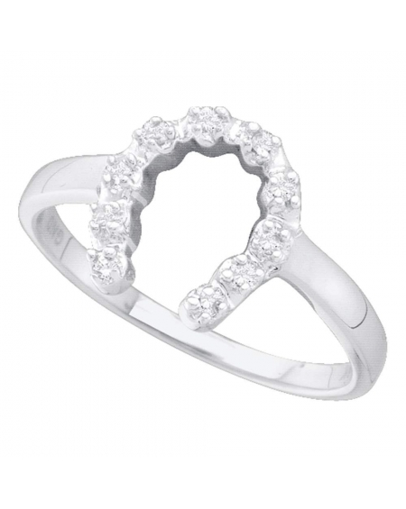 Lucky Horseshoe Ring in 14kt White Gold (.05ct)