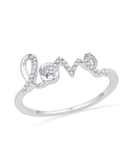 Diamond Love Band Ring in 10kt White Gold (.08ct)