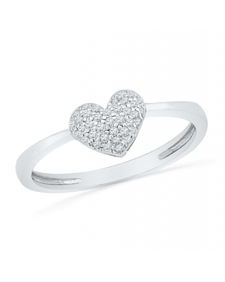 Diamond Heart Cluster Ring in 10kt White Gold (.10ct)