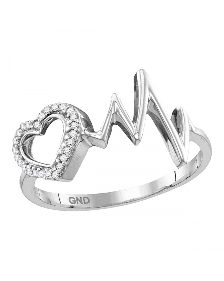 Sterling Silver Diamond Love Heartbeat Ring (.05ct)