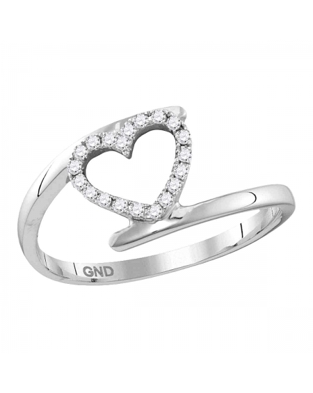 Held Heart Love Ring in White Gold (.13ct)